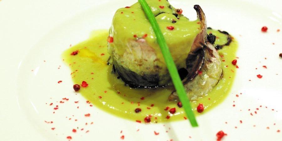 Timballo di riso ai carciofi d'Albenga e sgombri